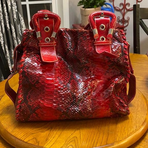 Red snake skin- Francesco Biasia shoulder bag.